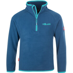 TROLLKIDS Nordland Halve Rits Kinderen, midnight blue/dark mint